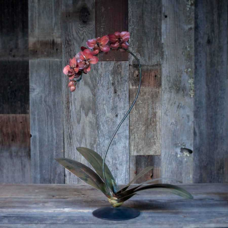 copper phalaenopsis orchid sculpture