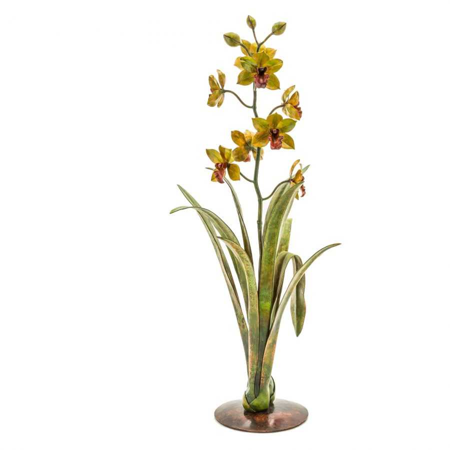 green copper orchid sculpture