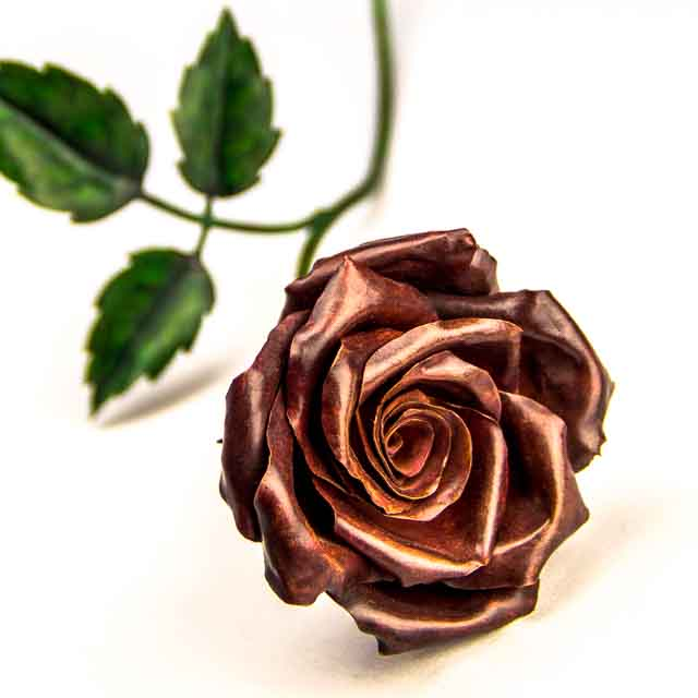 red rose CopperFlora sculpture
