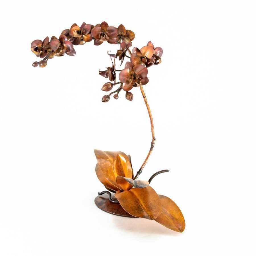 copper orchid sculpture
