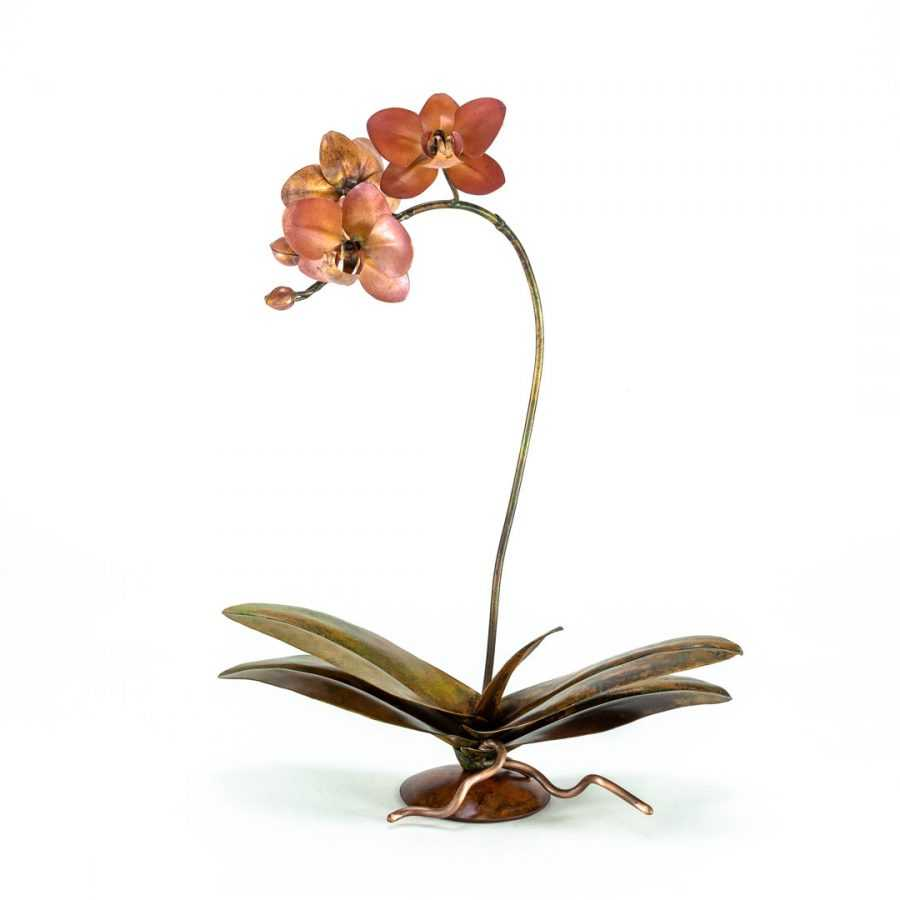 copper orchid sculpture