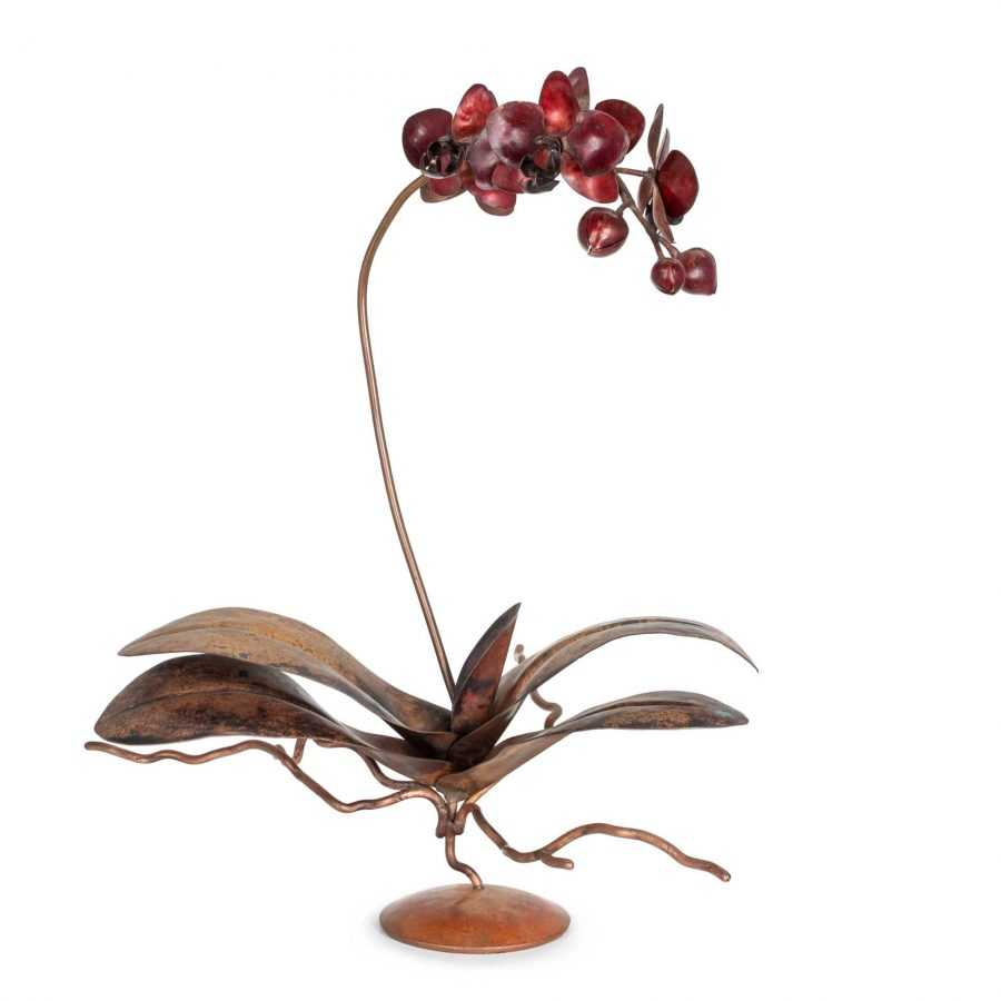 copper red phalaenopsis orchid sculpture